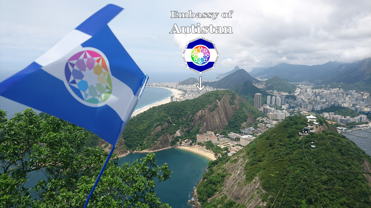 A bandeira do Autistão encima do Rio de Janeiro (do Pão de Açúcar)