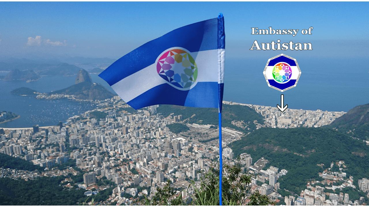 A bandeira do Autistão encima do Rio de Janeiro (desde o Corcovado)
