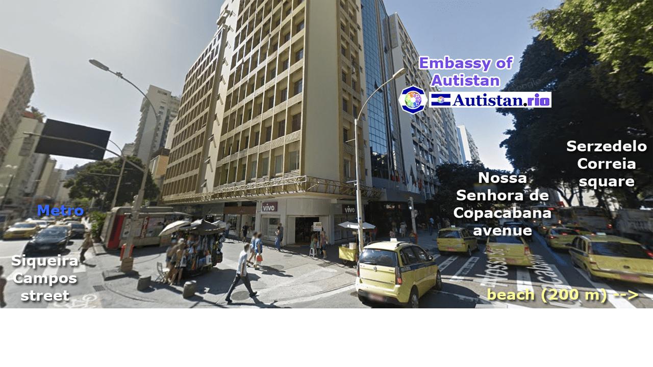 A sede da Organização Diplomática do Autistão no Rio de Janeiro